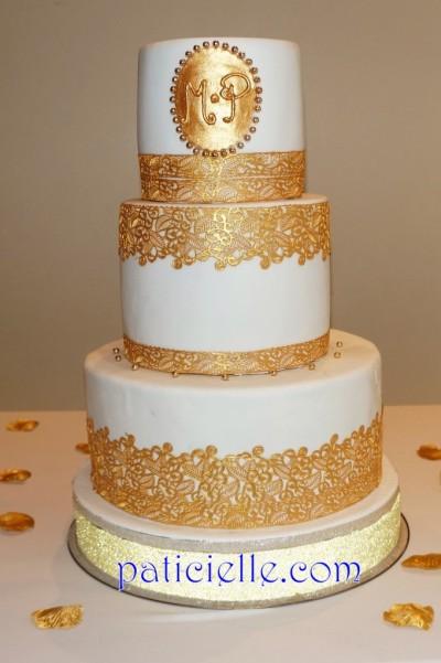 Pâticielle - wedding cake dentelle dorée