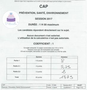 Prévention Santé Environnement CAP pâtissier candidat libre