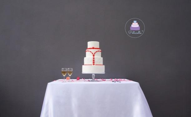 Elegant wedding cake blanc rouge